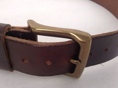 Mens Geniune Leather Brown Belt With Brass Buckle Made In Mexico EB Size 36  #Buckle