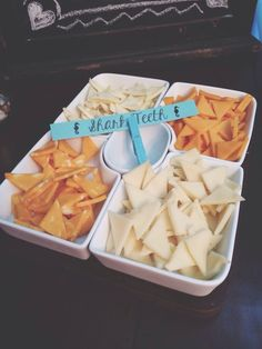 Cut up cheese in to triangles, pair with triangular crackers, label as shark teeth - Under the Sea Party Ideas | Catch My Party