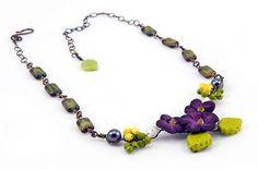 Purple and Green Bib Necklace Purple by CherylParrottJewelry