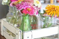 DIY Flower Crate---Homestead web site with lots of DIY,Garden, Home Decor decorating for cheap! Hand Painted Furniture, Recycled Furniture, Annie Sloan Chalk Paint And Wax, Peonies And Hydrangeas, Vase Centerpieces, Diy Wedding, Wedding Ideas, Dollar Store Crafts, Flower Farm