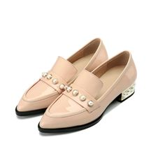 67.85$  Buy here - http://aliefc.worldwells.pw/go.php?t=32789421957 - Bacia Pearl Decorated Women Pointed Toe Loafers Gradient Spring Summer Flat Leather Shoes Black Blue Red Flats Moccasin 306-1/15