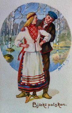 Koiviston puku Folk Clothing, Finland, Sweden, Roots, Scandinavian, Illustrations, Costumes, Embroidery, Painting