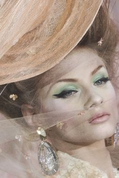 Dior (John Galliano) - Pin-up liner with mint green eyeshadow & pale pink lips