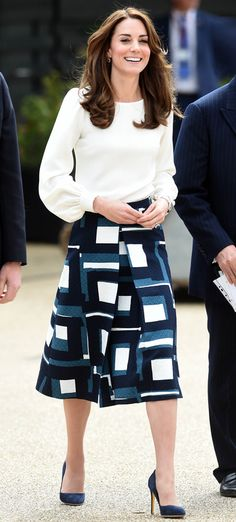 Kate Middleton in a graphic knee-length skirt and white top