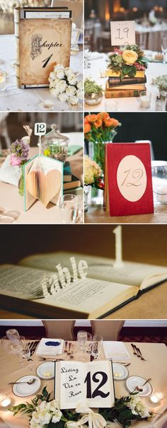 Books and Literature DIY Wedding Table Number Ideas