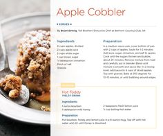 Apple Cobbler by Bryan Strevig, Toll Brothers Executive Chef at Belmont Country Club, VA