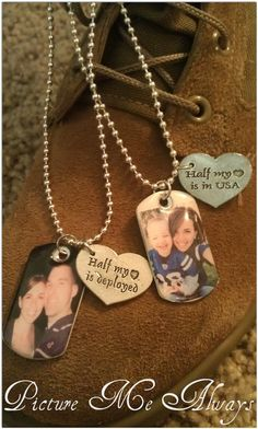 "His And Hers Deployment Dog Tag Set by PicMeAlwaysDesigns on Etsy. Definitely on my ""want"" list- except I would make it ""father and son"" and give a necklace to Loki so he can match his daddy"
