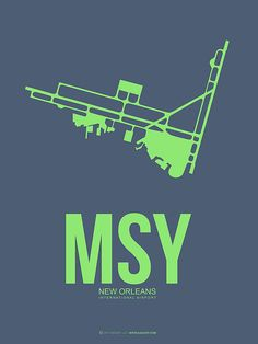 Msy New Orleans Airport Poster 2 by Naxart Studio