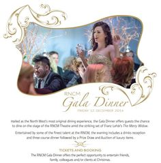 The Royal Northern College of Music's Gala Dinner 12th December 2014.  Dine on the stage of the new RNCM Theatre amid the striking set of Franz Lehár's The Merry Widow.  Tickets still available.  See a clip of last year's here rncm.ac.uk/galadinner #party #christmas
