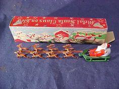 1950s SANTA CLAUS + SLEIGH Miniature METAL Xmas FIGURE w Orig BOX 6