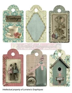 Shabby Chic 6 PNG and JPG Digital Gift Tags by LorrainesGraphiques