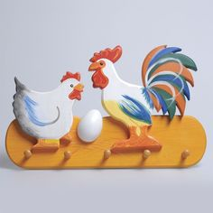 I love the colors of this Rooster & Hen  Coat Hanger