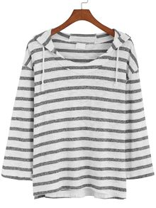 Hooded Striped Loose T-shirt