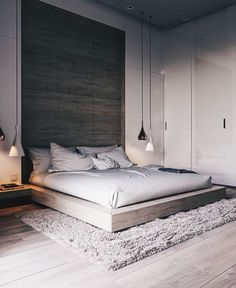 Inspired Spaces | Bedroom | Platform Bed | Wood Accent | Pendant Lights | Zen Moment | Calm Space