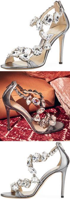 Jimmy Choo 'Karima' Crystal 100mm Sandals
