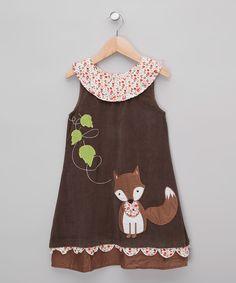 Look at this #zulilyfind! Brown Fox Corduroy Dress - Infant, Toddler & Girls by Powell Craft #zulilyfinds