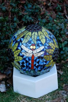 Gazing Ball 3 Dragonflies in the Sunflowers Stained Glass Mosaic Garden Sculpture
