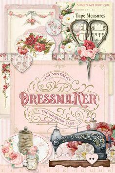 Vintage Cards, Vintage Paper, Vintage Images, Vintage Sewing, Decoupage Vintage, Foto Transfer, Shabby, Button Cards, Sewing Art