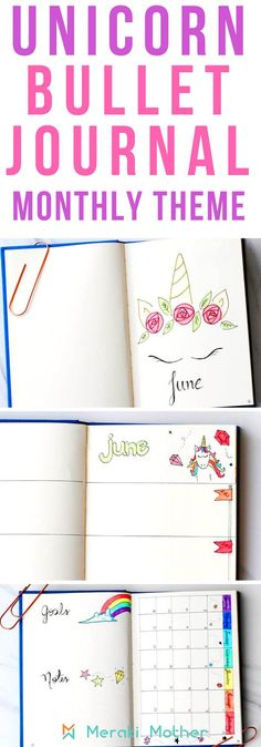 Unicorn bullet journal monthly theme for bujo #doodlejournal #journalart #nulletjournal #monthly