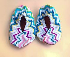 Baby Girl Shoes with a soft suede sole. Made with a cute multi color chevron print denim upper. Sizes 0 Months to 24 Months. Multi Color Slip On Soft Sole Infant and by ScarlettandSkyeBaby