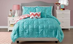 Twin Sophia Turquoise Blue Pinch Pleat Bedding Reversible to Zig Zag Chevron Design Light Weight All Seasons comforter set *** ** AMAZON BEST BUY **