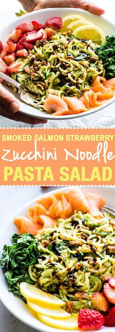 Smoked Salmon and Strawberry Zucchini Noodle Pasta Salad! A healthy lower carbZucchini noodle pasta salad witha creamyavocado sauce and paired with the freshstrawberries, spinach, and smoked salmon. This gluten free Salad bowl is perfectfor aspring or summer lunch or side dish. Clean ingredients, real food, UNREAL GOOD! @Lindsay - Cotter Crunch