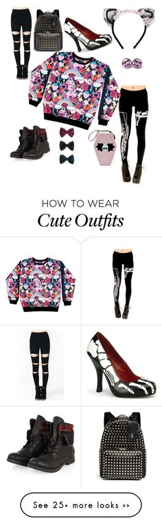 """""""Kawaii Goth"""" by jasminemcdowell on Polyvore featuring Accessorize, MAISON MICHEL PARIS, Valentino and Funtasma"""