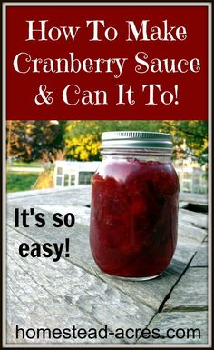 You'll love this easy homemade cranberry sauce recipe! Make it fresh or cook a larger batch and can it to enjoy all year. You'll love this easy homemade cranberry sauce recipe! Make it fresh or cook a larger batch and can it to enjoy all year. Easy Canning, Canning Tips, Canning Recipes, Canning Cranberry Sauce, Cranberry Relish, Homemade Cranberry Sauce, Homemade Ice, Canned Cranberries, Fresh
