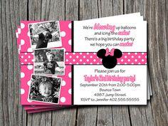 Custom Photo Pink Polka Dot Mickey & Minnie by ATimeAndPlaceDesign, $12.00