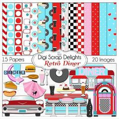 50% Off Today StoreWide! Retro 1950s Diner in Red, Aqua, Turquoise Digital Clip Art  for Digital Scrapbooking, Card Making, Phone Covers, Instant Download go to blog for matching freebies and Project life cards