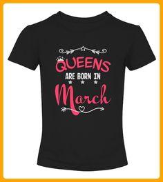Queens Are Born In March Birthday TShirt - Shirts für freundin mit herz (*Partner-Link)