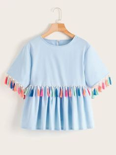 To find out about the Contrast Fringe Button Keyhole Babydoll Blouse at SHEIN, part of our latest Blouses ready to shop online today! Stylish Dresses For Girls, Stylish Dress Designs, Designs For Dresses, Girls Fashion Clothes, Teen Fashion Outfits, Girl Outfits, Girl Fashion, Clothes Women, 80s Fashion