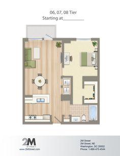One-Bedroom Floor Plan | 2M Street in Northeast Washington DC | WC Smith #Apartments | NoMa #PetFriendly #Rentals