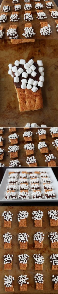 S'mores Mini Dippers. Perfect for parties and CUTE appetizers!! @Amanda | Kevin and Amanda