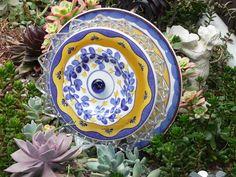 .Drought Resistant Plate Flower. #117.          Garden Yard Art glass and ceramic plate flower