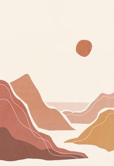 Terracotta ocean print, landscape drawing