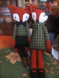 dolls with vintage fabric - flott augu