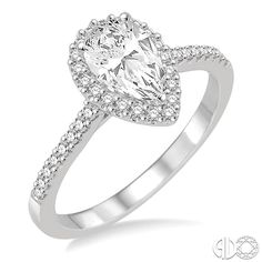 5/8 Ctw Diamond Engagement Ring with 1/3 Ct Pear Shaped Center stone in 14K White Gold
