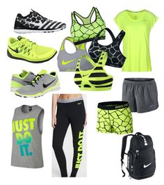 """""""yellow, black, gray Nike mix and match"""" by jadync123 on Polyvore featuring NIKE"""