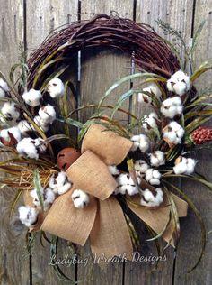 Cotton Wreath, Cotton Boll Wreath, Summer Wreath, Primitive Wreath, Rustic Wreath, Front Door Wreath, Everyday Wreath by LadybugWreathDesigns on Etsy https://www.etsy.com/listing/463339771/cotton-wreath-cotton-boll-wreath-summer