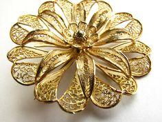 Vintage Gold Overlay Sterling Filigree Flower by ToadSuckTreasures, $32.00