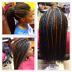 Medium size Senegalese Twists by The Braiding House.