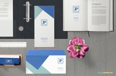 Present the whole office stationery with a single freebie.  #free #freebie #mockup #psd #photohop #stationery #branding #scene #letter #envelope #card #flyer