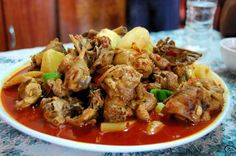 Da Pan Ji - Big Platter Chicken spicy fragrant and delish chicken dish from xinjiang province of china  this site has a lot of xinjiang recipes!!