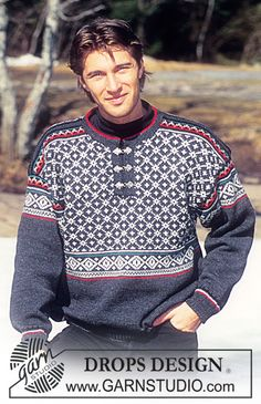 Nordic - Free knitting patterns and crochet patterns by DROPS Design Sweater Knitting Patterns, Knitting Designs, Crochet Patterns, Drops Design, Fair Isle Knitting, Free Knitting, Nordic Sweater, Men Sweater, Norwegian Knitting