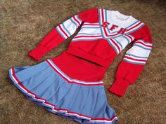 Vtg 80s Cheerleader Uniform Retro Chear Leader Costume Sweater Skirt Outfit   eBay
