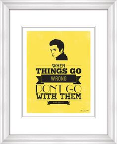 Yellow Elvis Presley Quote Typography Print by lindseyEarcher