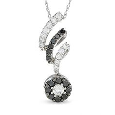 1/2 CT. T.W. Enhanced Black and White Diamond Corkscrew Drop Pendant in 10K White Gold - Zales