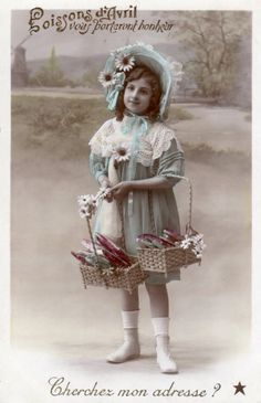 French antique postcards little girl 31 by Fairymelodycollect