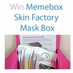Giveaways : Win Memebox Skin Factory Mask Box : Win Memebox Skin Factory Mask Box  One thing I often have trouble resisting is a good deal on sheet masks. They're an inexpensive pick-me-up for your whole face, and if you don't